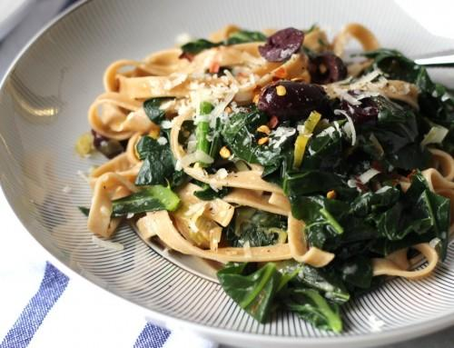 Whole Wheat Fettuccine with Wilted Greens & Leeks