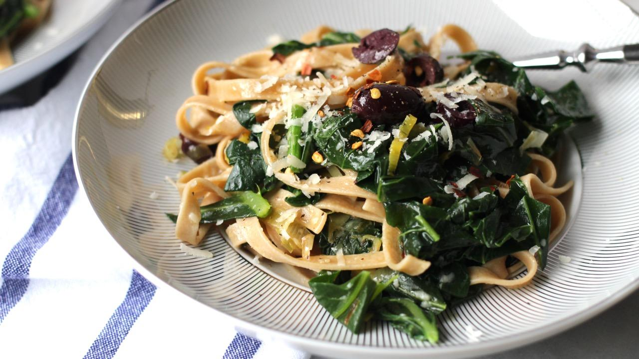 Fettucine with Wilted Greens and Leeks