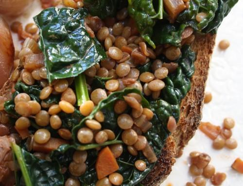 Whole Wheat Toast with Wine-Braised Lentils and Kale