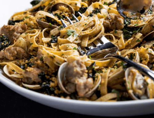 Chef Jonah Rhodehamel's Saffron Whole Wheat Pasta with Sausage and Clams