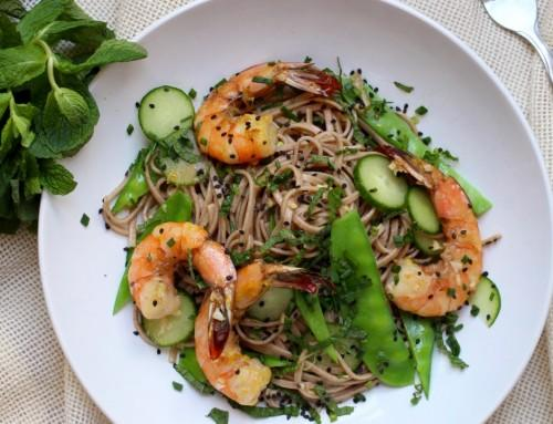Asian Prawn and Spaghetti Salad with Avocado
