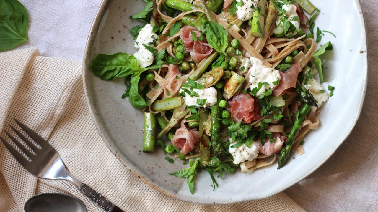 Springtime Fettuccine with Baby Artichokes, Asparagus, and Burrata ...