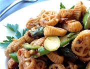 Wheelies with Asparagus and Tomatoes Recipe - Featured Image
