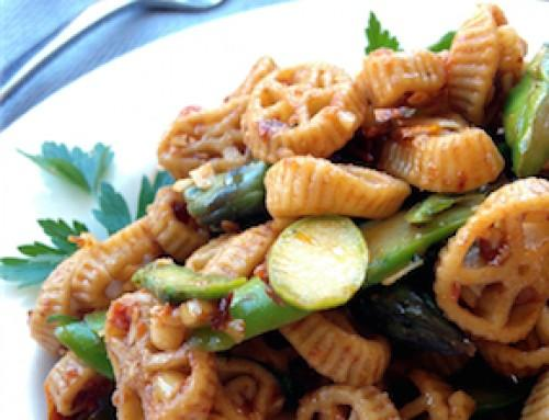 Wheelies with Asparagus and Slow-roasted Tomatoes
